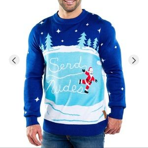 Men's LG Send Nudes Ugly Christmas Holiday Sweater